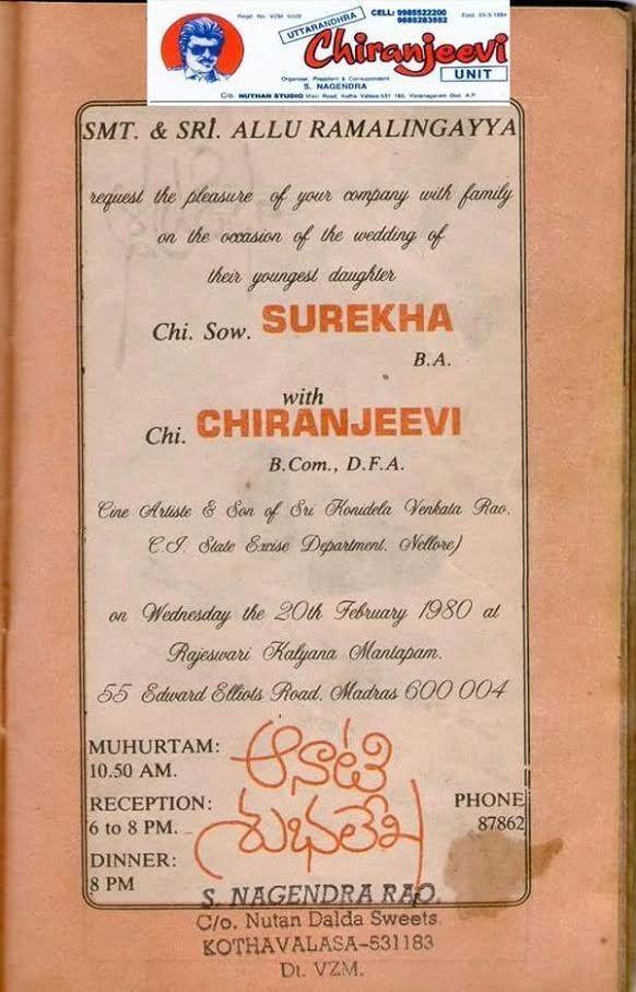 Rare Gold: Megastar Chiranjeevi's wedding invitation ...
